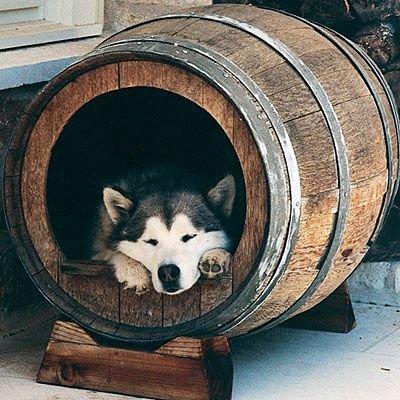 Как сделать будку из деревянной бочки